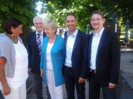 v.l. Kathrin Sonnenholzner (MdL), Uli Schmetz (3. Bgm FFB), Hannelore Kraft, Michael Schrodi (SPD-Kreisvorsitzender und Bundestagskandidat) und Martin Eberl (SPD-Kreispressesprecher und Bezirkstagskandidat)